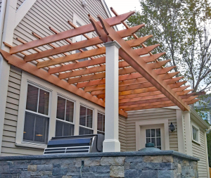 Wood and Cellular Vinyl Pergola P-A-17